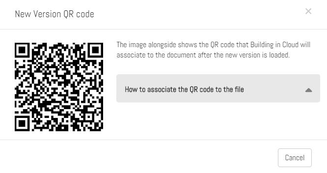 """Il Popup """"QR code nuova versione"""""""