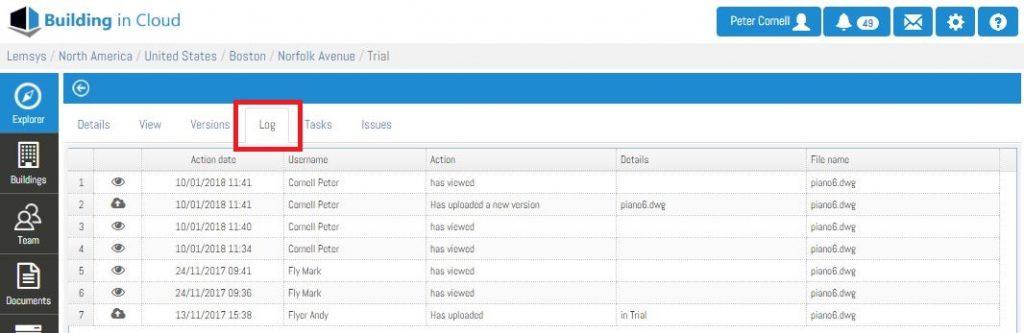 Log - Software BIM Bulding in Cloud