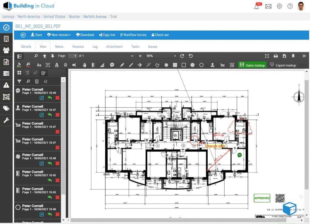 pdf markup - gestione documentale con Building in Cloud